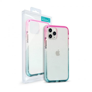 Gradient Hybrid Pink Blue PC Transparent Shockproof Case Cover for iPhone 12 / 12 Pro (6.1'')
