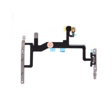 Power Flex Cable Volume Buttons Mute Switch With Brackets and Flash for iPhone 6S